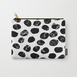Jacson - minimal black and white modern abstract art print dots polka dots brushstrokes urban bklyn Carry-All Pouch