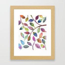 Colorful Leaves Watercolor Framed Art Print