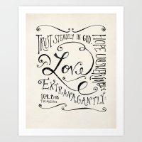 scripture Art Prints featuring Love Extravagantly scripture print by Kristen Ramsey