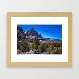 The_Watchman - Winter in Zion_National_Park, UT Framed Art Print
