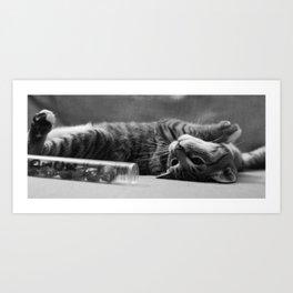 Kitty is Less Than Three Dice Art Print