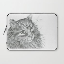 Fluffy Cat Pencil Drawing Laptop Sleeve