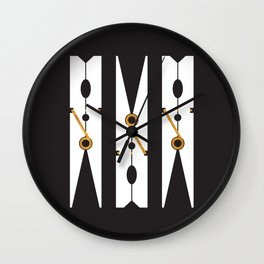 Laundry Clothespins - Gold, Black and White Wall Clock