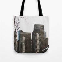 buildings Tote Bags featuring Buildings by Genevieve Einwalter