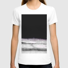 black and gray abstract landscape painting T-shirt