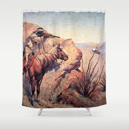 "Frederic Remington Western Art ""Apache Ambush"" Shower Curtain"