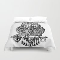 key Duvet Covers featuring Great Horned Owl by BIOWORKZ