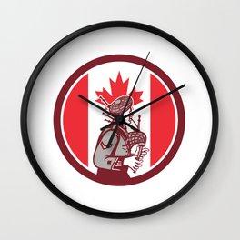 Canadian Bagpiper Canada Flag Icon Wall Clock