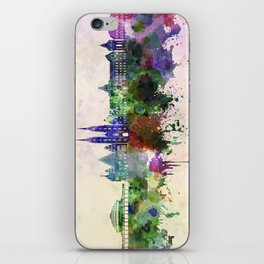 Wroclaw skyline in watercolor background iPhone Skin