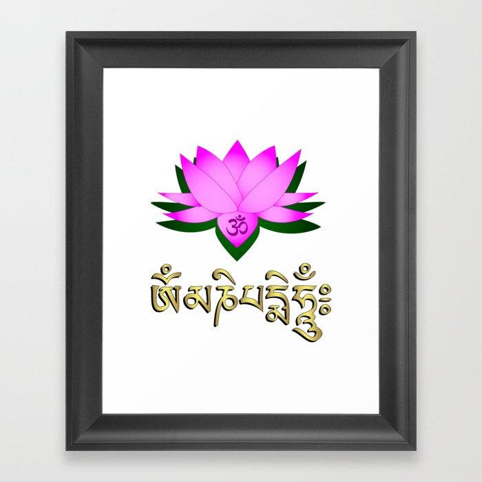 Lotus flower om symbol and mantra om mani padme hum framed art lotus flower om symbol and mantra om mani padme hum framed mightylinksfo
