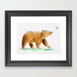 Bear & Bee Watercolor Framed Art Print