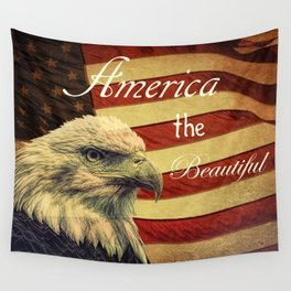 America the Beautiful Rustic Flag A109 Wall Tapestry