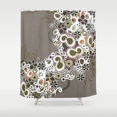 Diagonal flower – brown and olive green fiber Shower Curtain