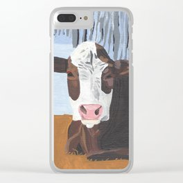 Cow In The Winter Clear iPhone Case