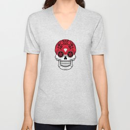 Sugar Skull with Roses and Flag of Indonesia Unisex V-Neck