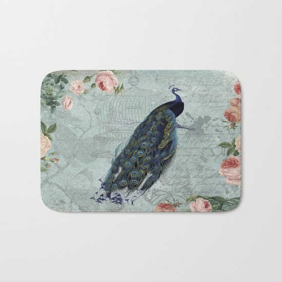 Vintage Victorian Peacock Bird and Roses Illustration on #Society6 Bath Mat