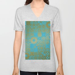 Moroccan Nights - Gold Teal Mosaic Pattern - Mix & Match with Simplicity of Life Unisex V-Neck
