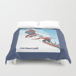 Stark Spangled Sledding (Recipe for a Concussion) Duvet Cover