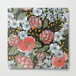 Retro Vintage Floral Arrangement On Black Background Metal Print