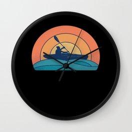 Retro Kayaking Kayak Kayaker Sunset Wall Clock