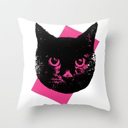 Black Cat, Color Block Pink Throw Pillow