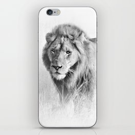Lion Art - B&W Wildlife Photography iPhone Skin