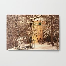 Wintry mood at the castle garden of Laupheim Metal Print