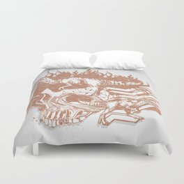 Bronze Skull and T-Rex Abstract Vector Art Duvet Cover
