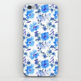 Watercolour Blue Floral Pattern iPhone Skin
