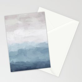 White, Mauve, Navy Soft Blue Print Modern Wall Art, Printable Abstract Painting, Ocean Clouds Misty Stationery Cards