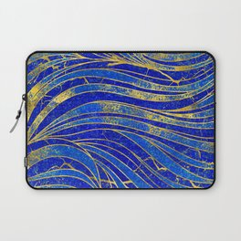 Lapis Lazuli and gold vaves pattern Laptop Sleeve