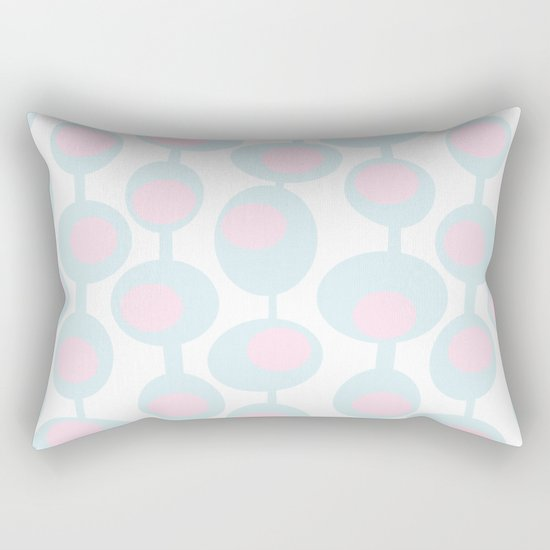 abstract 60ies circles and dots pattern in pink, white and aqua Rectangular Pillow