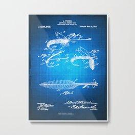 Fly Fishing Bait Patent Blueprint Drawing Metal Print