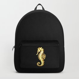 Gold Polygonal Seahorse Backpack