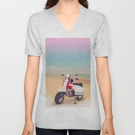 Union Jack Scooter Travel poster, Unisex V-Neck