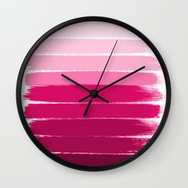 Mola - ombre painting bruskstrokes tonal gradient art pink pastel to hot pink decor Wall Clock
