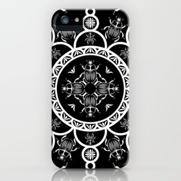 Scarab tile line pattern with black Background iPhone Case