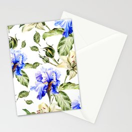 Irisis and lilies - flower pattern no3 Stationery Cards