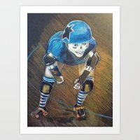 roller derby Art Prints featuring ROLLER DERBY QUEEN by LCG STUDIO / MISTY SPICER