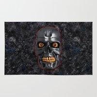 terminator Area & Throw Rugs featuring The Terminator: Metal by Leslie Philipp