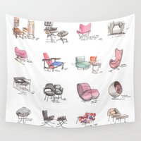 eames Wall Tapestries featuring Classic Chair Designs by James Culleton
