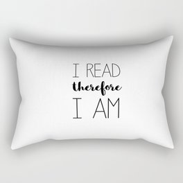 i read therefore i am // white Rectangular Pillow