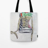 sneaker Tote Bags featuring Sneaker by H & J