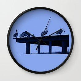 Blue Pelicans Wall Clock