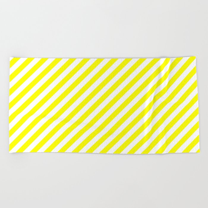 Diagonal Stripes (Yellow/White) Beach Towel