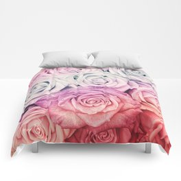 Some people grumble II  Floral rose flowers pink and multicolor Comforters