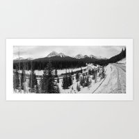 Banff Snow capped Mountains Art Print