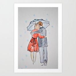 lovers in the rain Art Print