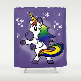 Flossing Rainbow Unicorn with Starry Background Shower Curtain