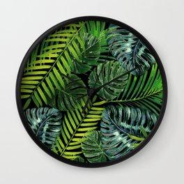 Jungle Tangle Green On Black Wall Clock